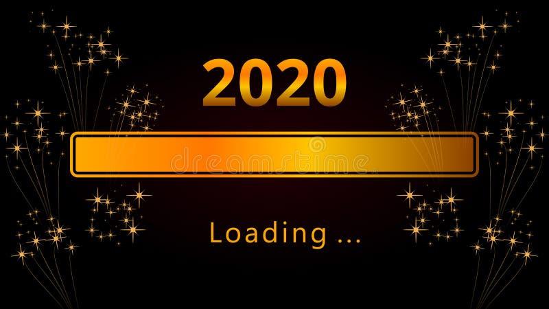 Barra de carregamento dourada brilhante do progresso da véspera de ano 2020 novo feliz com os fogos de artifício isolados no fund ilustração stock