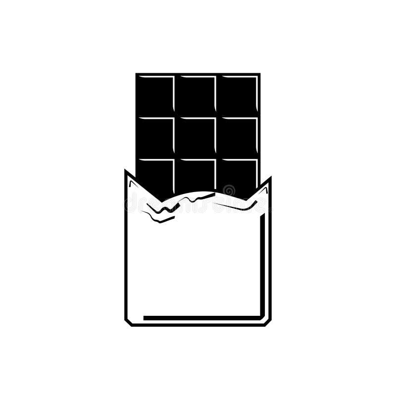 Barra de chocolate aislada en el fondo blanco Bocado delicioso del cacao Diseño plano del vector ilustración del vector