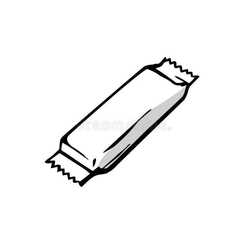 Barra de chocolate aislada en el fondo blanco stock de ilustración