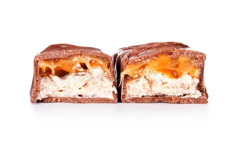 Barra de chocolate com caramelo fotos de stock