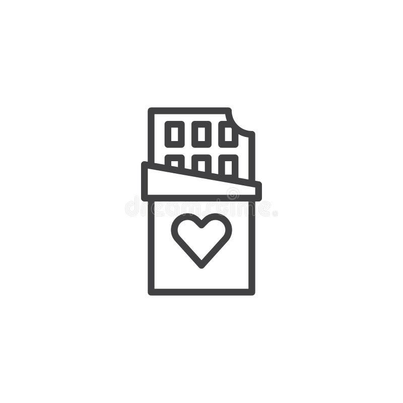 Barra de chocolate com linha de coração ícone ilustração royalty free