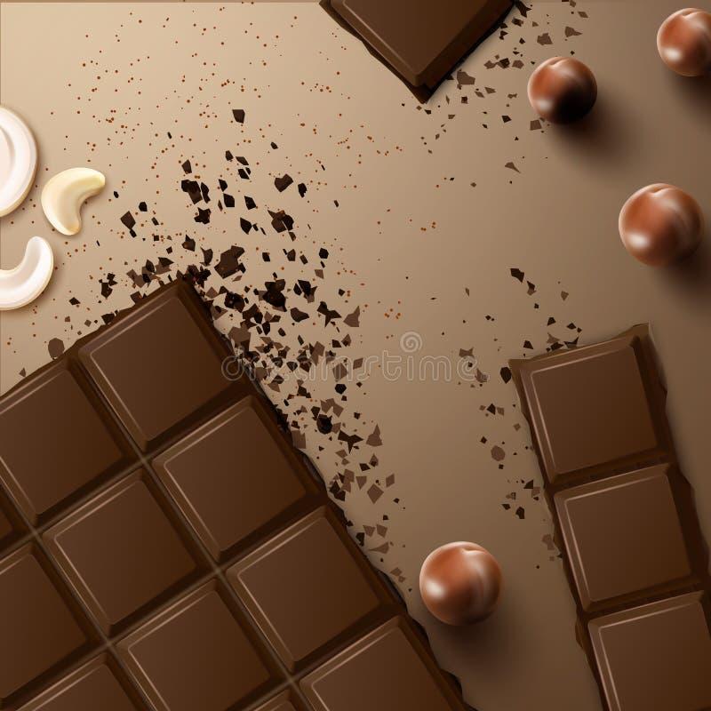 Barra de chocolate com porcas ilustração do vetor