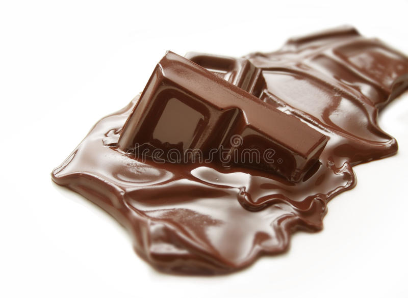 Barra de chocolate de derretimento fotografia de stock royalty free