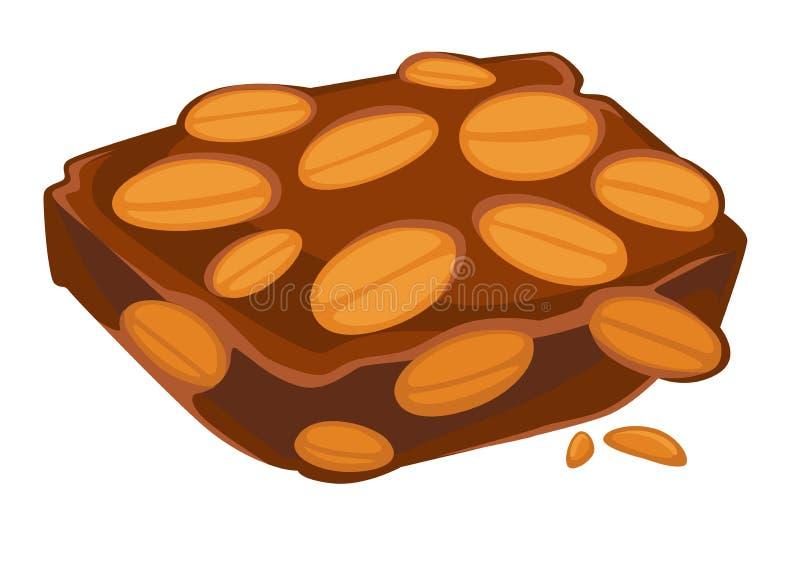 Barra de chocolate del cacahuete aislada para tratar el bocado dulce stock de ilustración