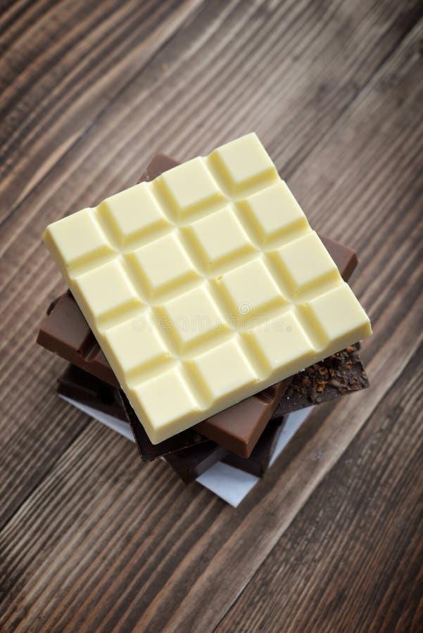 Barra de chocolate diferente imagens de stock