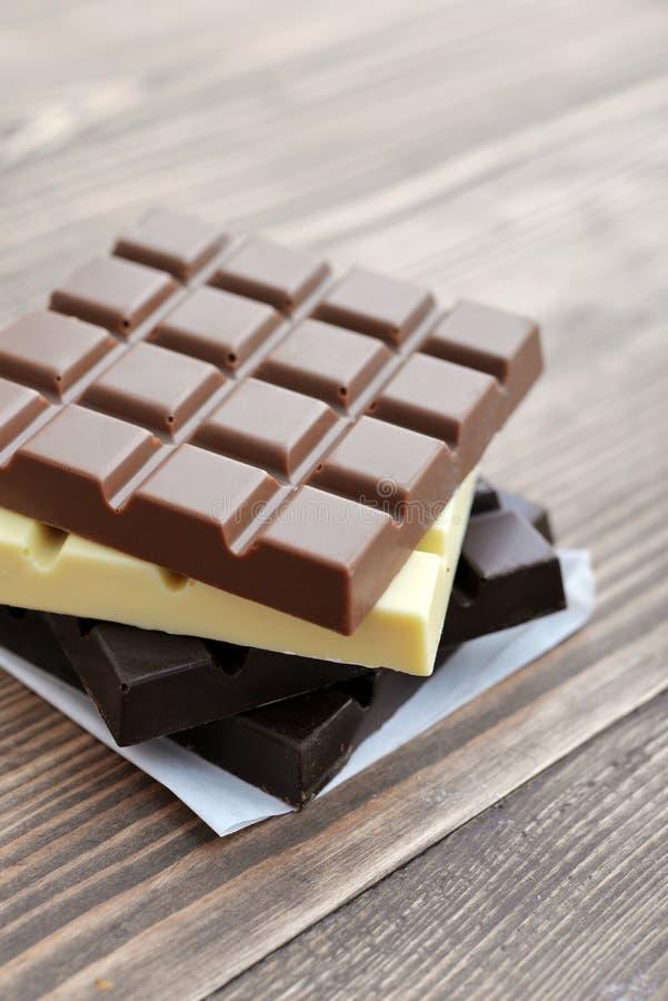 Barra de chocolate diferente imagem de stock