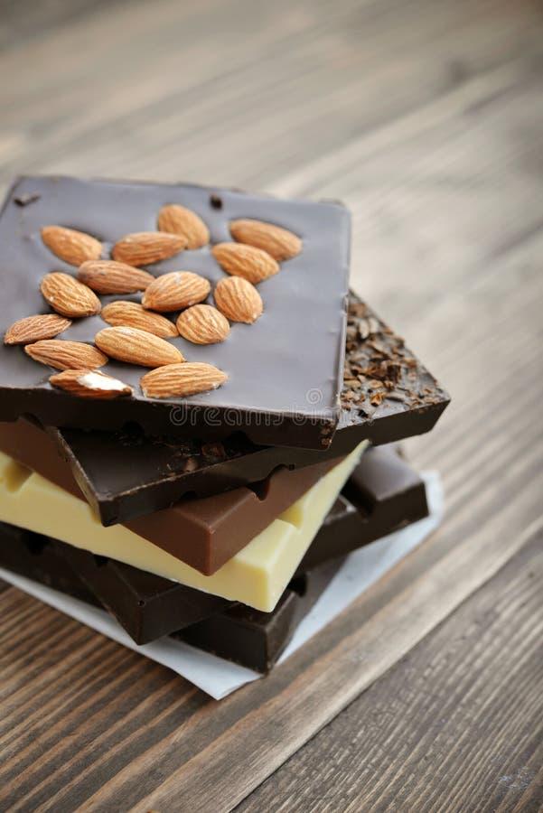 Barra de chocolate diferente fotografia de stock
