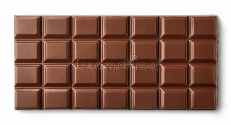 Barra de chocolate do leite isolada no fundo branco fotografia de stock