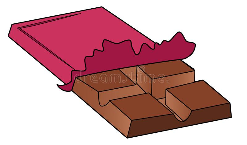 Barra de chocolate dos desenhos animados no pacote, com um curso grosso Denominando desenhos das crianças s ilustração stock