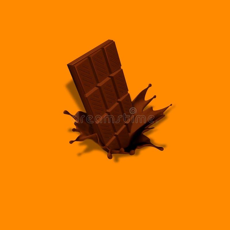 Barra de chocolate en chapoteo foto de archivo libre de regalías
