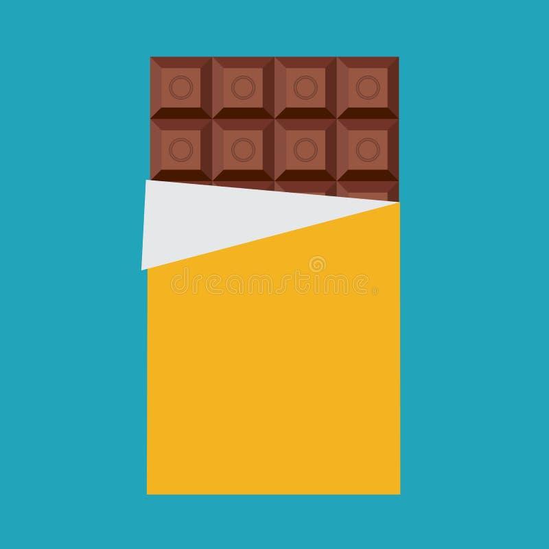 Barra de chocolate, icono aislado Ilustración ilustración del vector