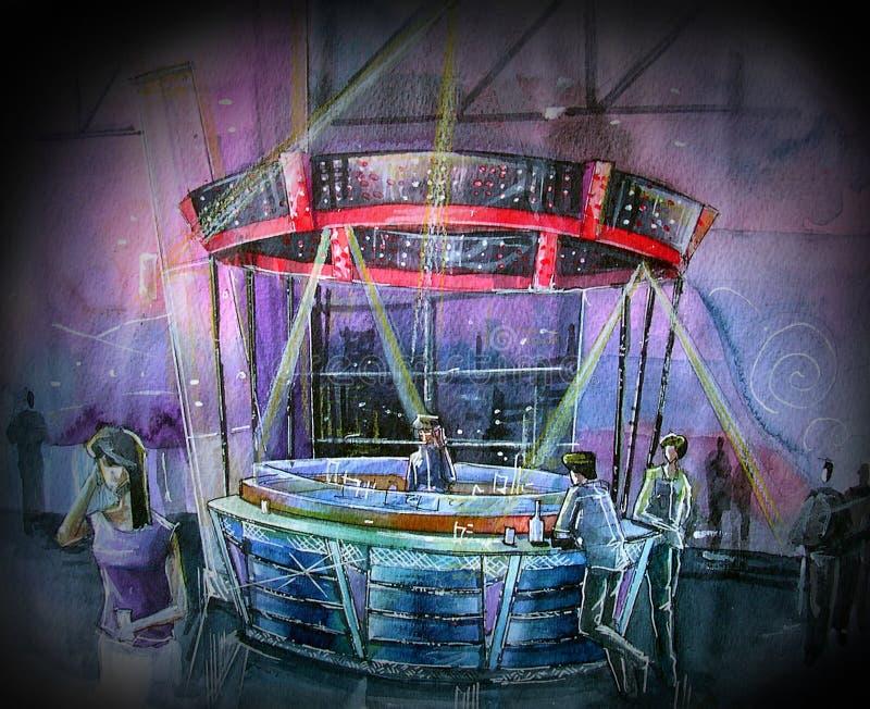 Barra de consumición del illustartion del club de noche ilustración del vector