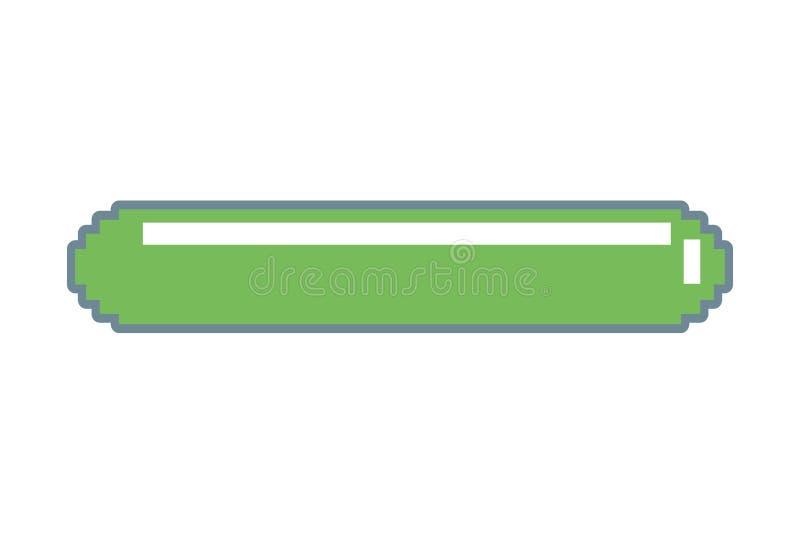 Barra de energia do jogo de vídeo do pixel ilustração do vetor