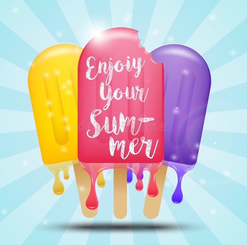 Barra de helado colorida en un palillo, concepto del verano libre illustration