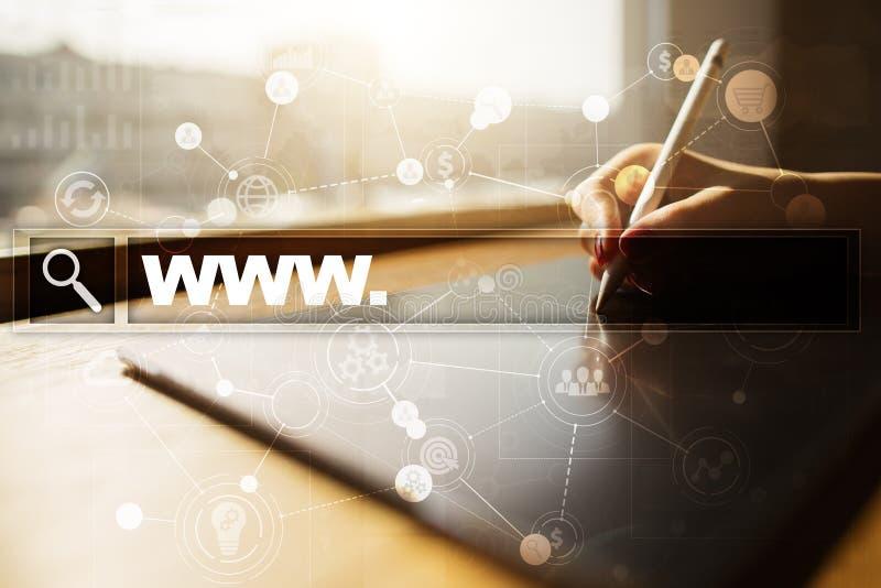 Barra de la búsqueda con el texto de WWW Sitio web, URL Negocio, Internet, concepto de la tecnología ilustración del vector