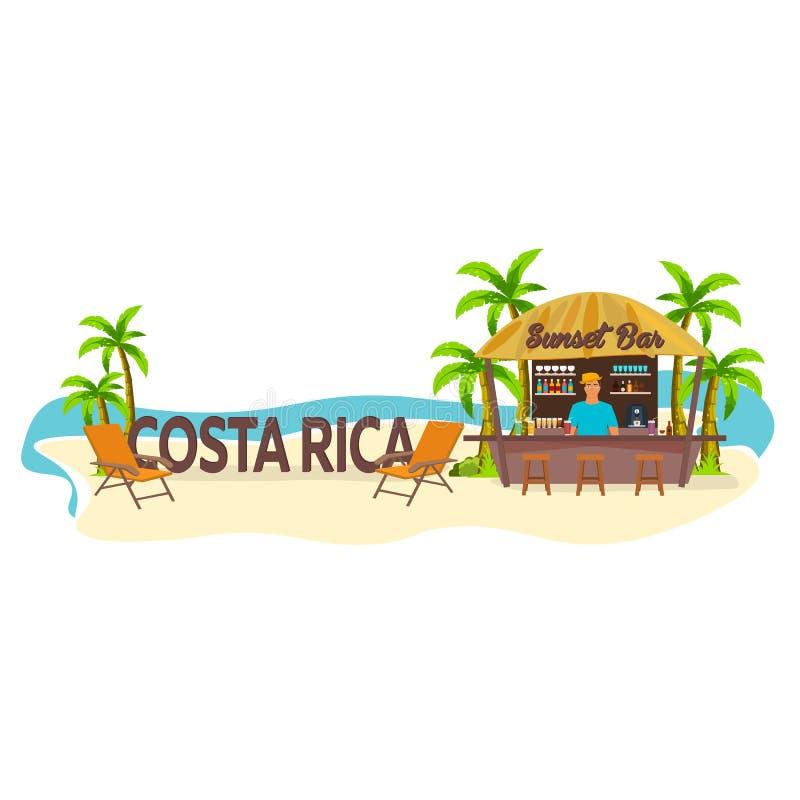Barra de la playa Costa Rica Viajes Palma, bebida, verano, sillón, tropical stock de ilustración