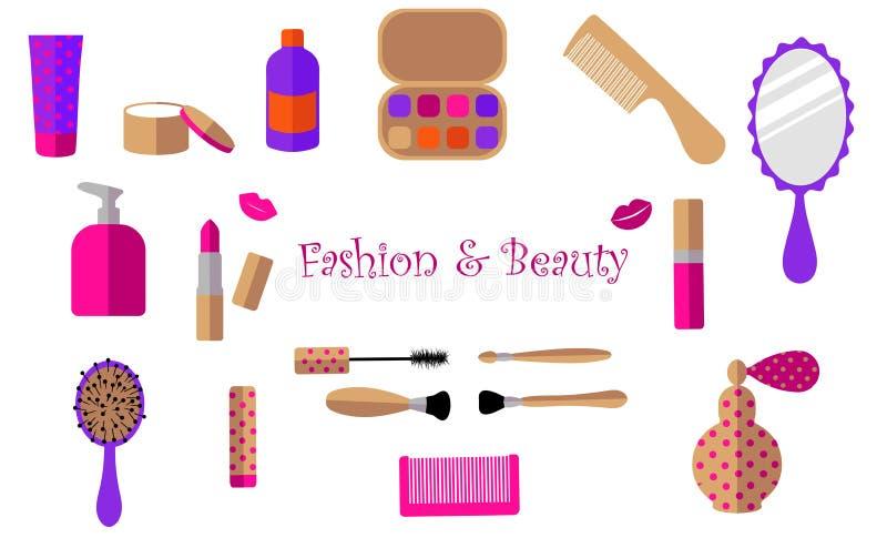 Barra de labios, crema, tarro, rimel, perfume, botella, sombra de ojos, espejo, peine, labios, cepillo en un fondo blanco stock de ilustración