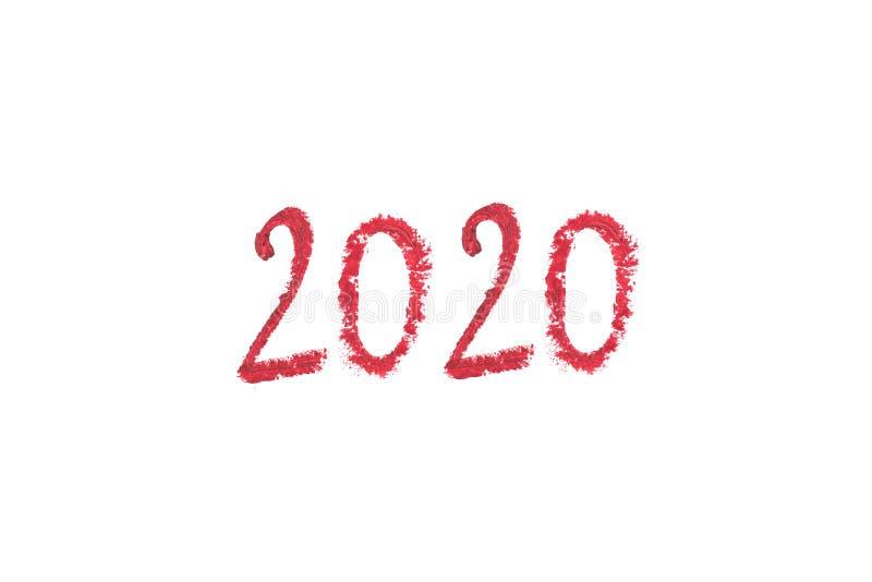 Barra de labios delicada que dibuja 2020 aislados en el fondo blanco foto de archivo