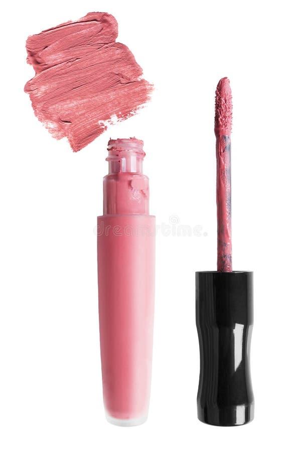 Barra de labios líquida rosada foto de archivo