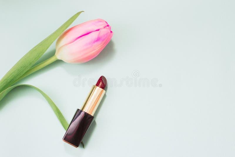 Barra de labios roja en un fondo en colores pastel azul suave foto de archivo libre de regalías