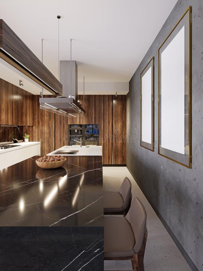Barra de mármore preta moderna com duas cadeiras e pinturas na parede Cozinha contemporânea moderna ilustração stock