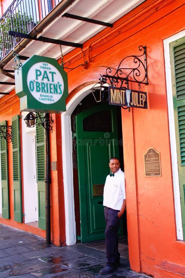 Barra de OBriens de la palmadita de New Orleans imagen de archivo