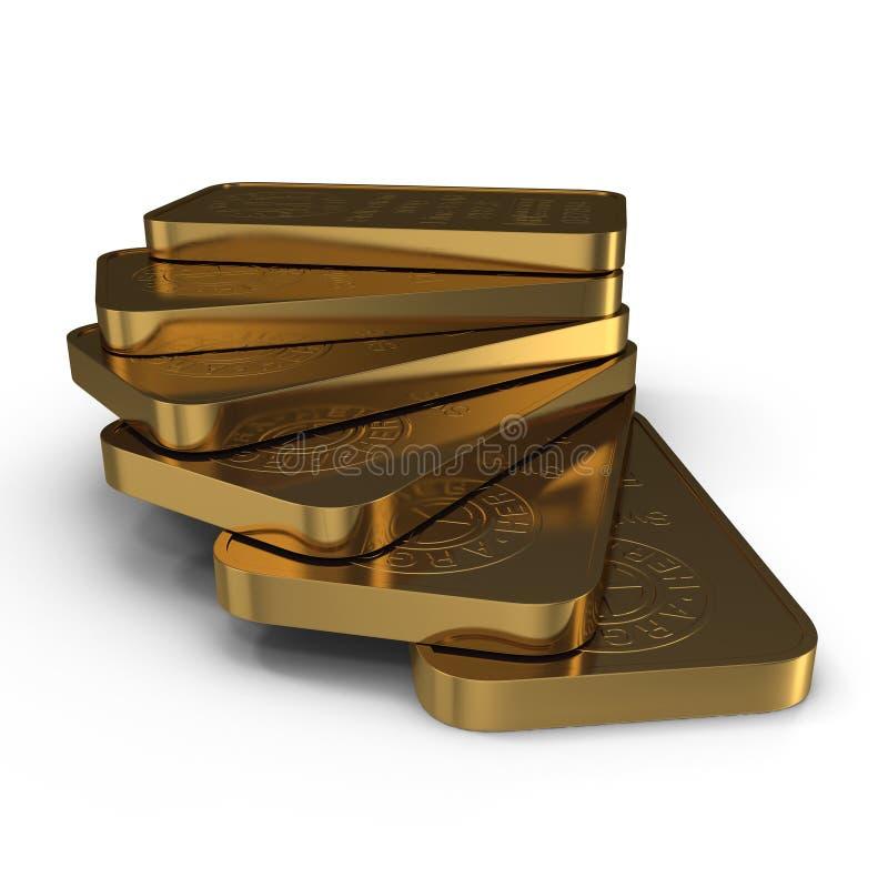 Barra de oro 100g aislada en blanco ilustración 3D stock de ilustración