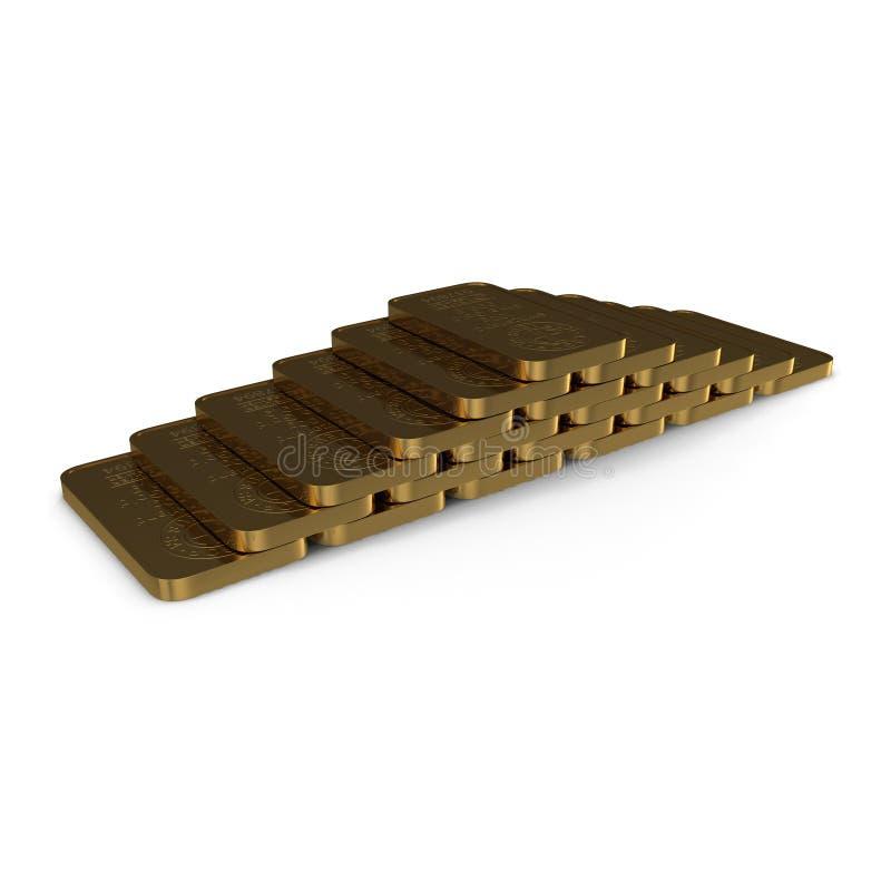 Barra de oro 100g aislada en blanco ilustración 3D ilustración del vector