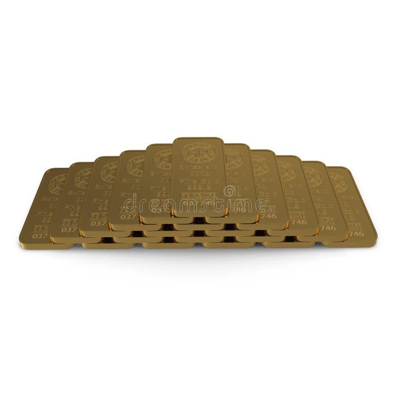 Barra de oro 500g aislada en blanco ilustración 3D stock de ilustración