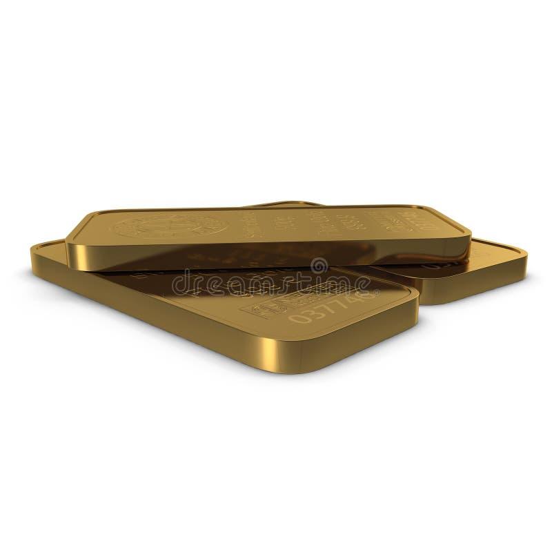 Barra de oro 500g aislada en blanco ilustración 3D ilustración del vector