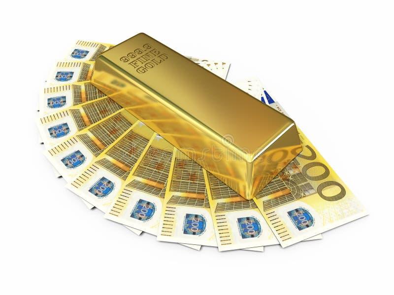Barra de oro y dinero del euro dosciento ilustración del vector