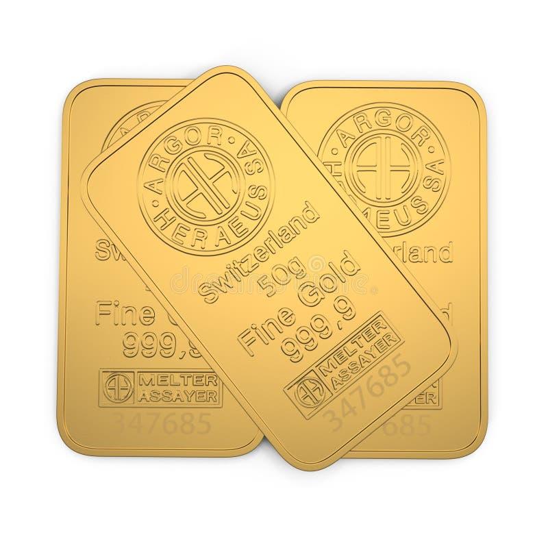 Barra de ouro 50g isolada no branco ilustração 3D ilustração do vetor