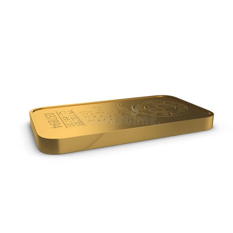 Barra de ouro 100g isolada no branco ilustração 3D ilustração royalty free