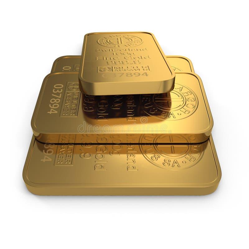 Barra de ouro 100g isolada no branco ilustração 3D ilustração do vetor