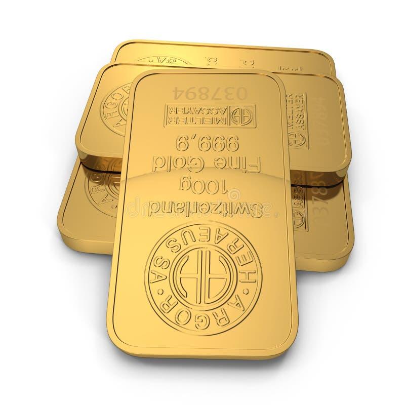 Barra de ouro 100g isolada no branco ilustração 3D ilustração stock