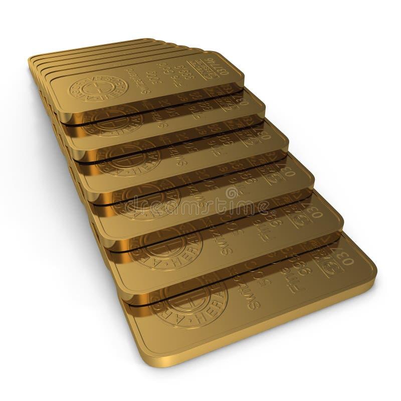 Barra de ouro 500g isolada no branco ilustração 3D ilustração royalty free