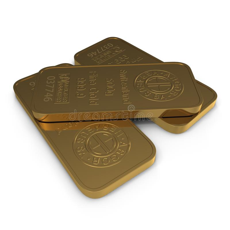 Barra de ouro 500g isolada no branco ilustração 3D ilustração do vetor