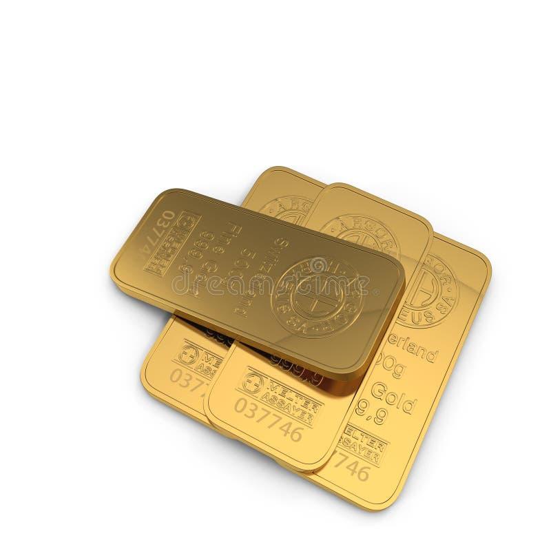 Barra de ouro 500g isolada no branco ilustração 3D ilustração stock