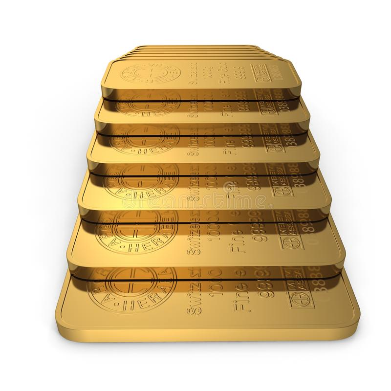 Barra de ouro 1000g isolada no branco ilustração 3D ilustração royalty free