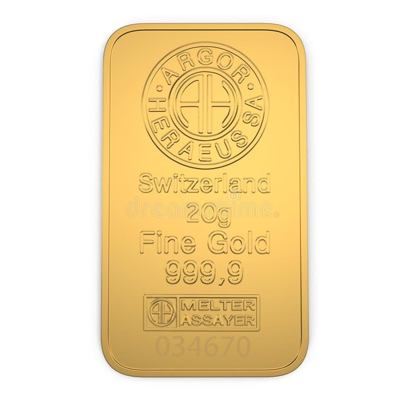 Barra de ouro 20g isolada no branco Vista superior ilustração 3D ilustração stock