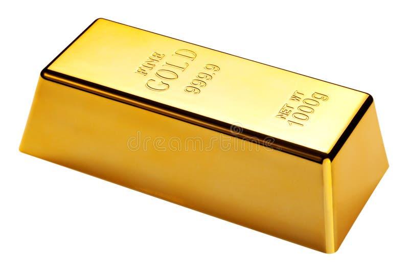 Barra de ouro isolada com trajeto de grampeamento imagens de stock royalty free