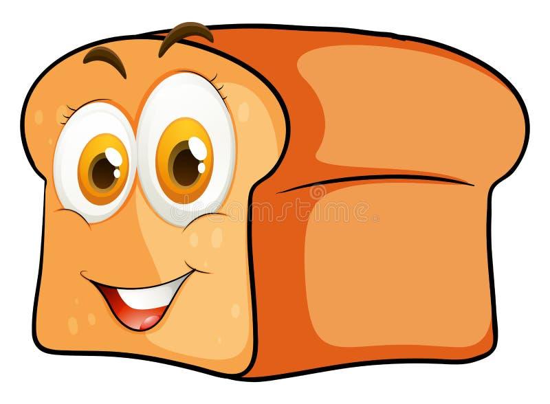 Barra de pan con la cara feliz stock de ilustración