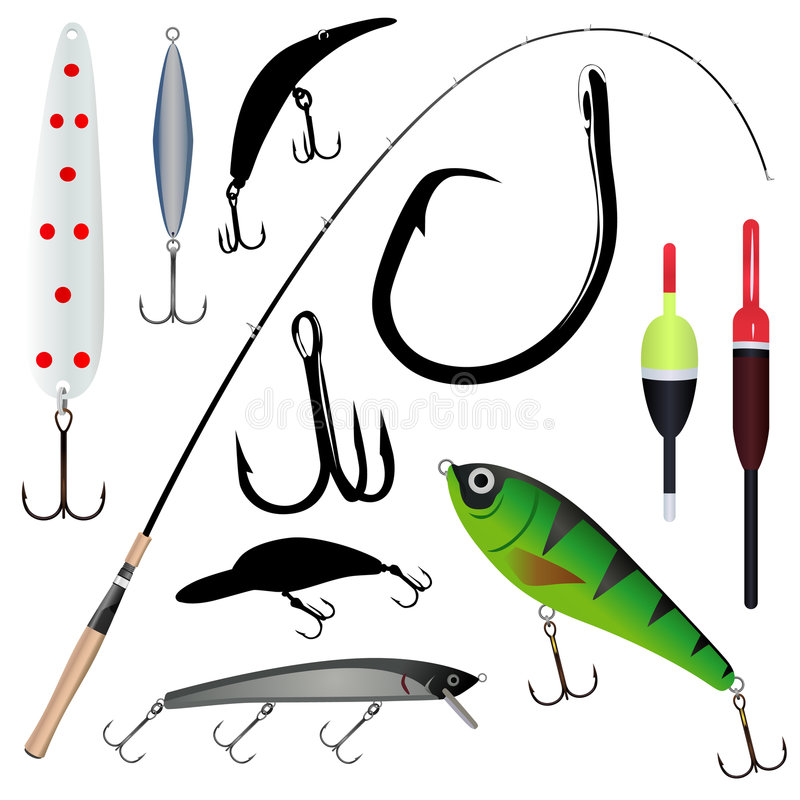 Barra de pesca, gancho de leva ilustración del vector