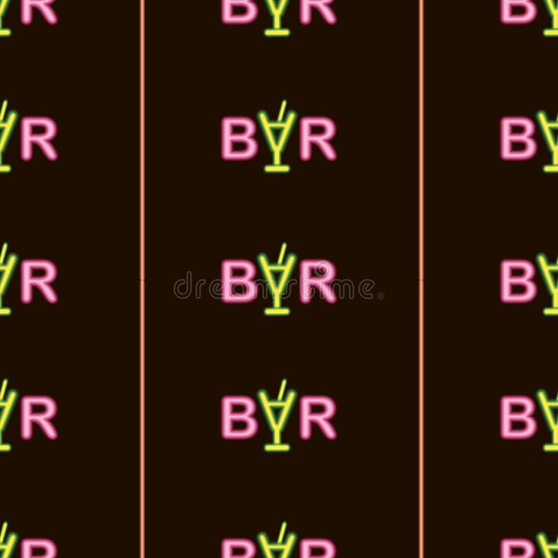 Barra de piscamento de incandescência brilhante de néon do texto do sumário no teste padrão sem emenda do fundo preto imagens de stock