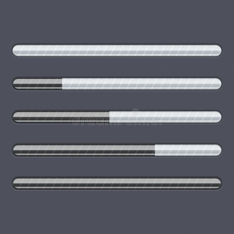 Barra de progreso del cargamento Interfaz negro del web con las líneas grises stock de ilustración