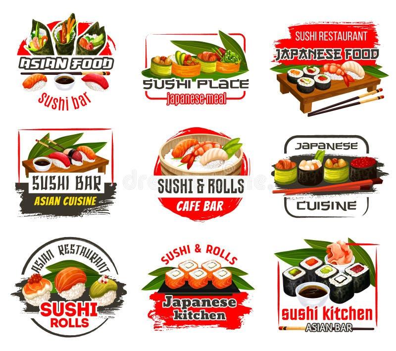 Barra de sushi o café y restaurante de los iconos de Japón ilustración del vector