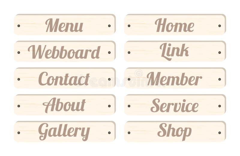 Barra dei menu di legno del bordo con il membro del contatto di collegamento di webboard della casa del menu di espressione circa illustrazione di stock