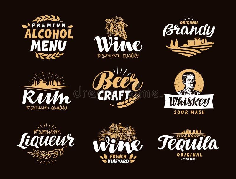 Barra dei menu, icone messe Etichette delle bevande alcoliche illustrazione di stock