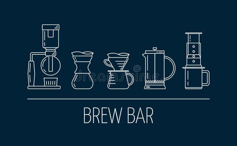 Barra del brebaje Fije de los iconos lineares blancos del vector sobre el café que prepara métodos Saque con sif?n, vierta encima libre illustration