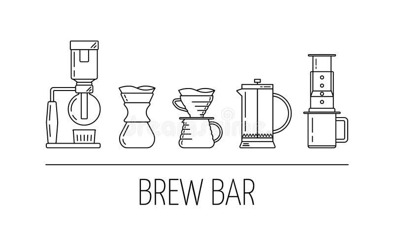 Barra del brebaje Sistema de iconos lineares del negro del vector sobre el café que prepara métodos Saque con sifón, vierta encim stock de ilustración